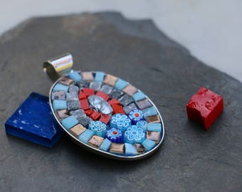 Oval Marble Mosaic, baked and millefiori land pendant