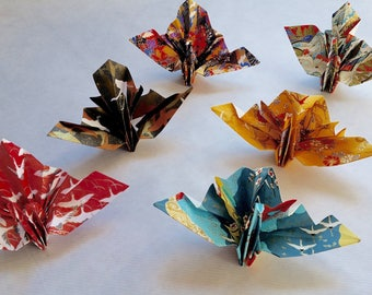 Set of 6 ceremonial origami cranes.