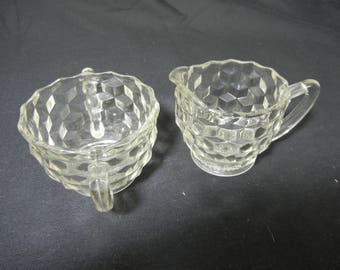 Cube Pattern Creamer and Sugar