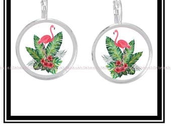 """A Tropical pink Flamingo"" earrings"
