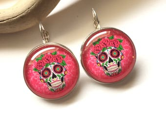"Earrings original & unique ""Dia de los muertos Girly"" heart, bow, black, gray polka dot grey calavera skull pink polka dot"