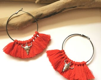 Elegant hoops & red pom poms! Large earrings, tassel pom pom pom pom earrings fancy Bohemian style