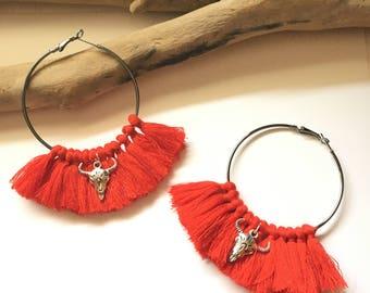 Elegant hoops & red pom poms! Large earrings, tassel pom pom pom pom earrings fancy Bohemian style