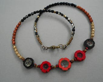 Flower necklace,beaded necklace,bohemian necklace,red and black necklace,romantic necklace.