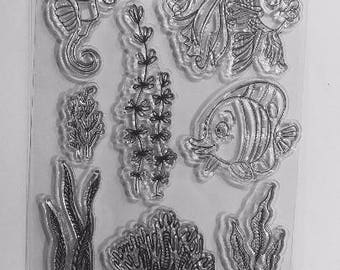 Silicone - clear Stamp - sea Theme clear stamps / Ocean / nautical transparent silicone - fish / seahorse / seaweed / coral / bubble