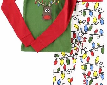 Kids Christmas Pajamas Lights Out Christmas Pajamas Children's Pajamas Kids Pajamas Moose Pajamas Christmas Pajamas