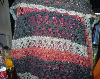 tricolor crochet shawl collar jacket