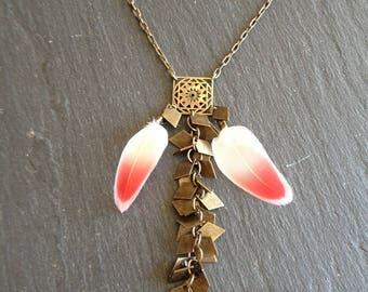 ethnic necklace Flamingo feathers