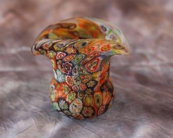 Vintage Italian Millefiori Murano Small Glass Vase