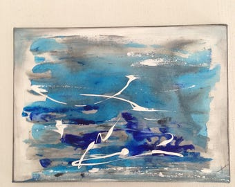 """small modern """"Shades of blue"""" acrylic painting"""