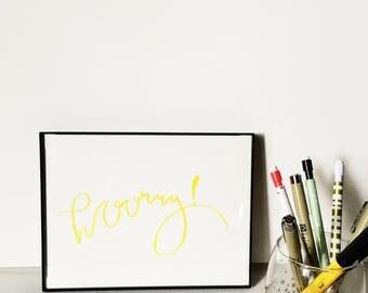 Hooray | Calligraphy Print | Modern Calligraphy | Original Print | Fun Art | Handmade | Handwritten | Home Decor | Gallery Wall Art | Art