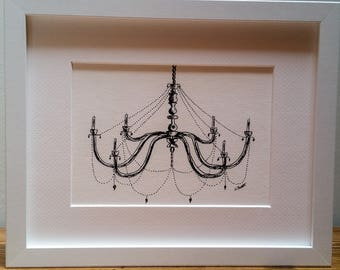 Chandelier Drawing, Black and White