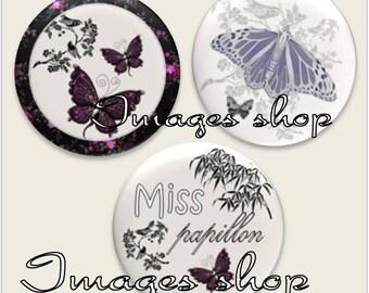 Envoi gratuit ! Images digitales cabochons MISS PAPILLON !