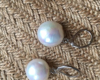 Natural Large White Baroque Pearls -French sterling silver  Earrings