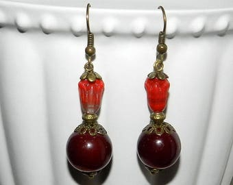 Burgundy and red glass beads, Czech glass Tulip earrings