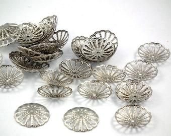 ♥ 10 PCs bead caps antique silver 13mm ♥