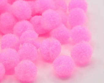 Pink X 10 pom poms 10mm without hook