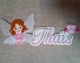 Fairy sitting Butterfly - choose name door plaque