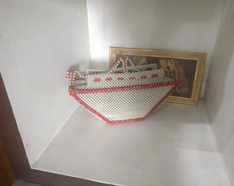 Completely hand made ship from pearls