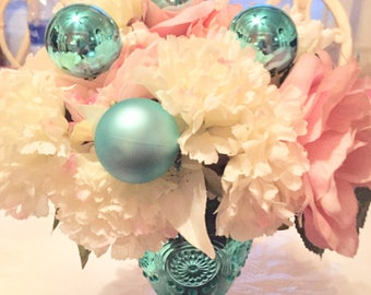 Beautiful aqua and pink centerpiece. Great for weddings, showers or garden parties!