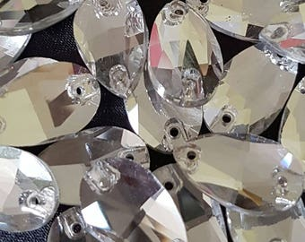 Set of 5 rhinestone sewing imitation 10.5mmx18mm shape crystal water drop