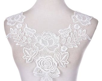 Applique sewing pattern white lace flower collar