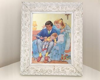 Retro book illustration of family from 1980s by Mary Brooks showing mum, dad and boy. Playroom decoration for small child. Decoupage paper