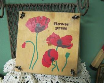 Vintage Wooden Flower Press w/ Poppy Decoration