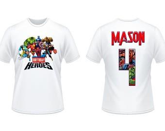 Avengers Birthday Shirt Iron On Transfer. Avengers Iron On Transfer Design. DIY Birthday Shirt Transfer. Digital File Only
