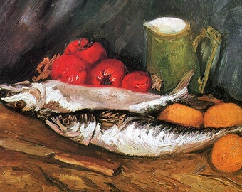 ORIGINAL TABLE SET, plastic, WASHABLE and durable - Van Gogh. Still life with mackerel, hot and tomatoes.