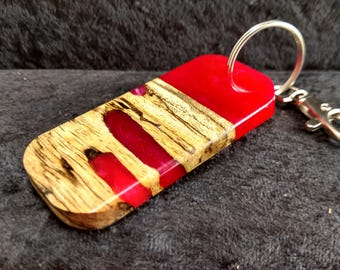 Wood and resin key chain