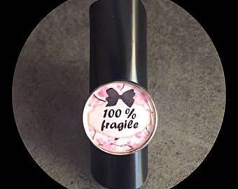 """""""100%"""" fragile adjustable cabochon ring-"""