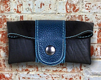 Blue leather man wallet and recycled inner tube.