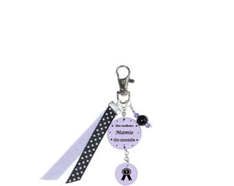 "Bag charm ""voted best Grandma in the world"" Purple"
