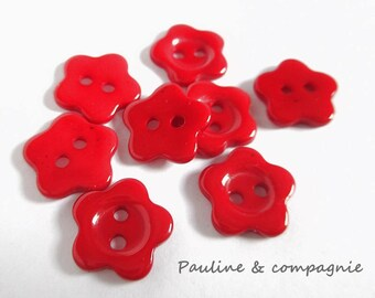 8 buttons fancy red flower acrylic