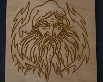 Wizard Head Laser Engraved Birch Wood Plaque 5 1/2 x 5 1/2