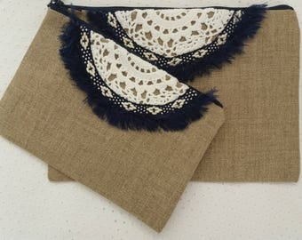 "Small pouch Boho ""Hohokams. Linen / stripe blue"