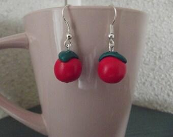 Earrings shaped cherry red glitter