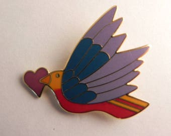 Laurel Burch, Celeste with Heart, Pendant or Pin Cloisonné, Enamel Brooch, Valentines Gift