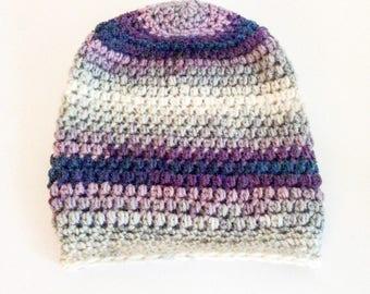 Crochet slouchy beanie/purple hat/warm beanie/winter hat/winter beanie/crochet hat/festival beanie/women's gift/boho hat/Christmas gift