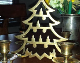 Vintage Brass Christmas Tree with Four Candle Holders 1970 D297