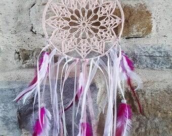 Large dream catcher pink crochet