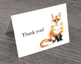 Set of Fox Thank You Cards & Envelopes