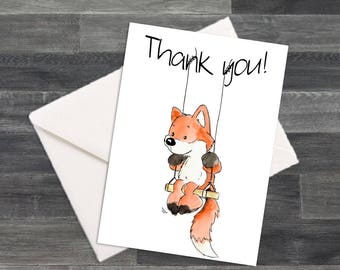 Set of Silly Fox on a Swing Thank You Cards & Envelopes