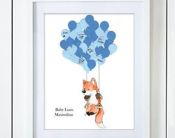 Silly Fox on a Swing Baby Shower Guest Book Alternative Gender Neutral Boy Girl