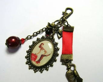 """Pinup in red"" handmade keychain or bag charm"