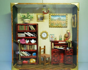 Miniature representing an office, dollhouse, roombox