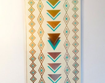 Board temporary tattoos - borders gold silver large triangles and turquoise - leather decorations - jewelry