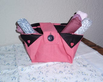 Pink and black linen, organizer basket