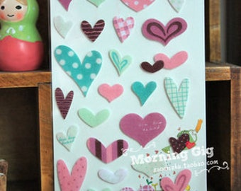 Decal stickers in the shapes of hearts